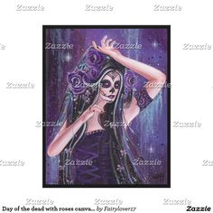 Day of the dead with roses canvas by Renee Lavoie