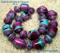 Paper Beads Purple And Turquoise Set A   by PassionForPaperBeads