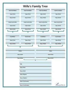 This bible-style family tree chart is used for documenting four generations of a wife's genealogy. Family Tree Book, Blank Family Tree, Family Tree Chart, Family History Book, Free Genealogy Sites, Genealogy Forms, Genealogy Chart, Family Genealogy, Free Family Tree Template