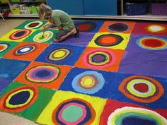 Kandinsky Tarp Rug - something similar for an art auction? Art Classroom Decor, Classroom Teacher, Classroom Ideas, Third Grade Art, Fourth Grade, Second Grade, Art Lessons Elementary, Collaborative Art, Arts Ed