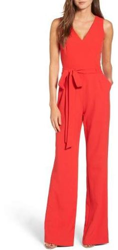 Vince Camuto Jumpsuit. Crisp crepe gives flattering flow to this wide-leg jumpsuit tailored with darts and a tied waist for a flattering fit.Great for 4th of July. 2018 Fashion trends. Spring & Summer. #ad #jumper #fashion