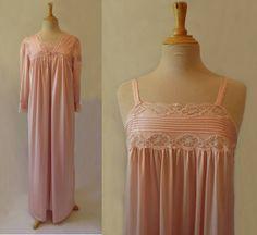Dusty Pink Nightgown & Robe Peignoir Set by LouisaAmeliaJane