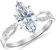0.65 Carat Marquise Cut Twisting Split Shank Diamond Engagement Ring