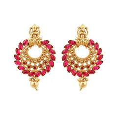 Gold Plated Red Stone Jhumka