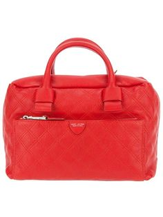 Red quilted leather 'Antonia' tote from Marc by Marc Jacobs featuring two rolled top handles, a top zip fastneing, a detachable shoulder strap, and a zip fastening front section with a designer embossed leather plaque, and a designer embossed zip fastening pocket.