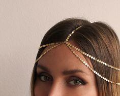 Headpiece Layering Chain Headpiece Bridal Wedding by MinimalVS, $89.00