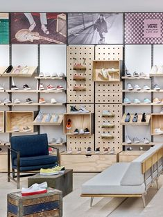 Vans hq - picture gallery visual inspiration in 2019 shoe store design, van Shop Interior Design, Retail Design, Shoe Store Design, Vans Store, Shoe Display, Shop Interiors, Showroom, Home Decor, Leather Workshop
