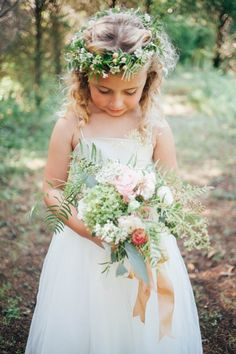 A mini version of the brides bouquet and the sweetest flower crown - we ever did see! #Cedarwoodweddings Intimate Treehouse Wedding :: Lora+Jeremy | Cedarwood Weddings