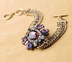 Attractive Alloy Bracelet With Big Artificial Gemstone Pendant- New In