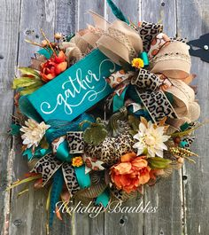 Fall Gather Leopard Wreath by Holiday Baubles