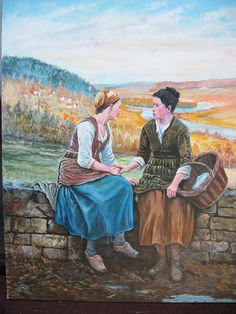 Here is a other painting of a template by Daniel Ridgway Knight, Handmade oil painting, Canvas On Chipboard, done with a pallette knife and Pencil, Sold.
