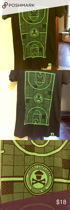 🏀 Johnny Cupcakes Boston Celtics Basketball Tee Worn once, if that. Limited edition. Runs small - I'd say it's more of a size large (obviously can fit S or M, too, depending on the fit you prefer). Perfect length. This is really neat, unique tshirt - pictures a basketball court. 🏀 No flaws, like new. Perfect for cupcake fans and sports fans! Johnny Cupcakes Tops Tees - Short Sleeve