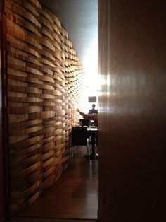 Wall made of reclaimmed barrel staves at Nick Peirano's Italian restaurant in McMinnville Or. Photo from Dai Crisp of Lumos Wines