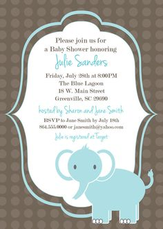 Baby Elephant DIY printable baby shower invitations