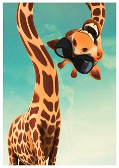 funny giraffe with sun glasses: Art print poster by newposters