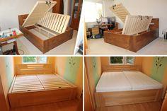 Oblíbené postele s úložným prostorem z masivu - Meryl 180x200 moření Olše a dole přírodní masiv + čirý lak