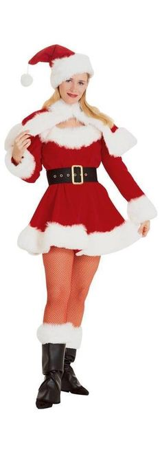 Mrs Claus Costume Adult Miss Santa Outfit Christmas Fancy Dress Cool Costumes, Adult Costumes, Costumes For Women, Costume Ideas, White Costumes, Santa Dress, Santa Outfit, Christmas Fancy Dress, Halloween Fancy Dress