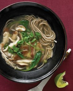 Soba+noodles+have+a+nutty,+slightly+bready+flavor,+and+are+bursting+with+nutrition+not+found+in+wheat+noodles.+We've+paired+them+here+with+leafy+spinach+and+shiitake+mushrooms+for+a+simple,+savory+meal.