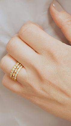 Ladies yellow gold stacking diamond wedding bands by Ascot Diamonds #ascotdiamonds