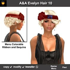 A&A Evelyn Hair Platinum (Color 10). Curly vintage 1920's style with colorable hairband and sequins.