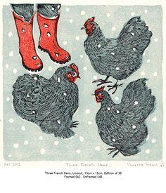Vanessa Lubach ~ Three French Hens ~ Linocut, 13 x 13 cm