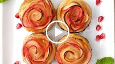 Rosh Hashanah just got a whole lot sweeter with these beautiful apple roses! Impress your guests this Rosh Hashanah with these gorgeous apple roses. Just a few Passover Recipes, Jewish Recipes, Just Desserts, Delicious Desserts, Spiced Pumpkin Soup, Tapas Menu, Stuffed Grape Leaves, Apple Roses, Beautiful Desserts