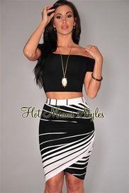 Ivory Stripes Draped Knee Length Skirt