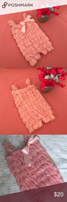 Extremely Cute Romper Very sweet and adorable lace ruffled romper with lace ruffled straps and silk bow on front.  Perfect for pictures.  Very sweet on.  Only worn once.  Extremely good condition. ******All babies items can be bundled for a special discounted price!****** One Pieces Bodysuits