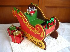 Gingerbread Sleigh-I tried to make a gingerbread sleigh & church years ago, but dad kept eating the gingerbread! - MCBL