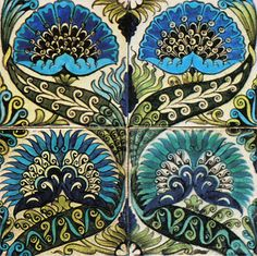 "William de Morgan, Tile, ""Mongolian"" motif.  (Photo courtesy William de Morgan Tiles by Jon Catleugh) Note: the Ottoman inspired colors and ogee (double S shape) motif of the vines."