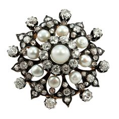 Victorian Diamond and Pearl Brooch | From a unique collection of vintage brooches at https://www.1stdibs.com/jewelry/brooches/brooches/
