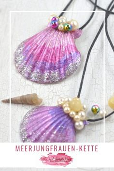 Summer handicrafts with children: especially girls will love these mermaid necklaces . - DIY Kindergeburtstag I Kinderparty Ideen - Mermaid Crafts, Mermaid Diy, Mermaid Necklace, Diy Necklace, Crafts For Teens, Arts And Crafts, Kids Crafts, Diy Jewelry Inspiration, Shell Crafts