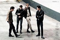 Aiden Andrews, Julien Quevenne, Matvey Lykov & Vinnie Woolston by Sven Baenziger for GQ France  image gqfrancegang8