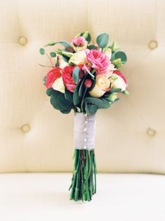 Sweet and simple rose bouquet: http://www.stylemepretty.com/little-black-book-blog/2015/06/29/contemporary-multi-cultural-wedding-at-the-carolina-inn/ | Photography: Perry Vaile - http://perryvaile.com/