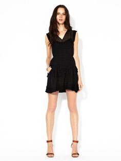 Meshima Textured Silk Ruffle Dress by Theory on Gilt