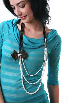 long duo-color pearl chain