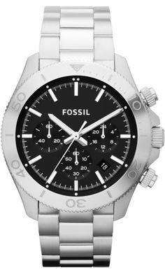 FOSSIL #CH2848 Retro Traveler Chronograph Stainless Steel Watch