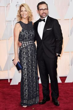 Steve Carell & Wife Nancy Hit the Oscars 2015 Red Carpet Together!: Photo Steve Carell poses with his wife Nancy as they arrive at the 2015 Academy Awards held at the Dolby Theatre on Sunday (February in Hollywood. Steve Carell, Sienna Miller, Diane Kruger, Charlize Theron, Glamour, Star Fashion, Fashion News, Fashion 2015, Oscars