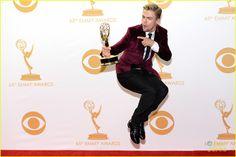 Derek Hough celebrating his Emmy win in a Ted Baker velvet blazer
