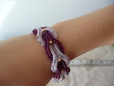 Raspberry Herringbone Bracelet Cabled Bead by AutumnStormBeadwork