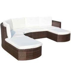 Outdoor Rattan Wicker Sectional Sofa Couch Furniture Set Patio Garden Deck Brown