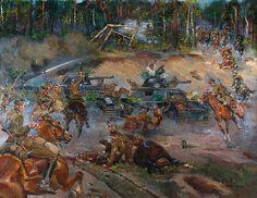 Jerzy KOSSAK (1886-1955)  Bitwa pod Kutnem, 1939 olej, płótno; 115 x 150 cm sygn.p. d.: Jerzy Kossak/ Kutno/ 1939