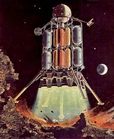 Wernher Von Braun's first lunar lander design This behemoth held 25 astronauts and weighed in at an extraordinary lbs.The vehicle was 160 ft tall, 108 ft in diameter. Science Fiction Art, Science Art, Lunar Lander, Apollo Missions, Vintage Space, Found Object Art, Sci Fi Characters, Space Travel, Space Crafts