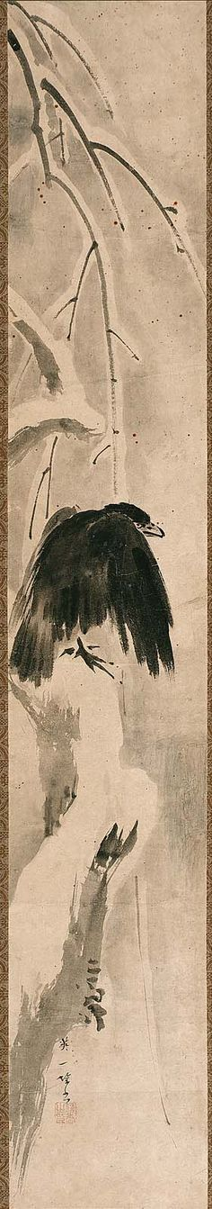 Crow in Snow Setsuryu karasu zu.  Japanese Edo period. first half of the 18th century Hanabusa Itchô (Japanese, 1652–1724)