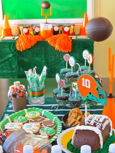 FOOTBALL PARTY TABLE (love the hanging football)