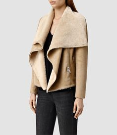Women's Sheepskin Wrap Biker (SAND BROWN) - product_image_alt_text_2