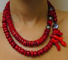 Red Coral Pearls Necklace Dalia Koss