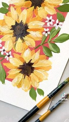 Diy Canvas Art, Canvas Painting Tutorials, Small Canvas Art, Acrylic Painting Canvas, Simple Flower Painting, Flower Art Drawing, Flower Watercolor, Flower Paintings, Butterfly Art
