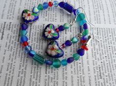 Cloisonne style Heart Bracelet and Earrings