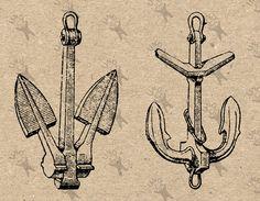 Vintage Anchor Anchors image Instant Download от UnoPrint на Etsy #hq #png #bw #Ephemera #diy #old #book #illustration #gravure #inspiration #retro #antique #vintage #300dpi #craft #draw #drawing  #black #white #printable #crafts #transfer #decor #hand #digital #collage #scrapbooking #quality